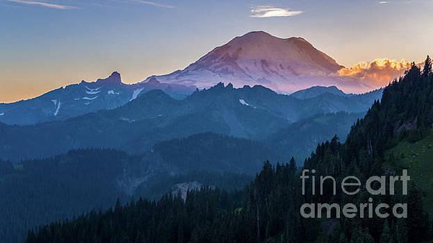 Aerial Mount Rainier Sunset Layers Chinook Pass by Mike Reid