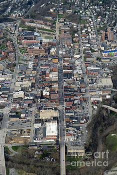 Dan Friend - Aerial of high street downtown Morgantown