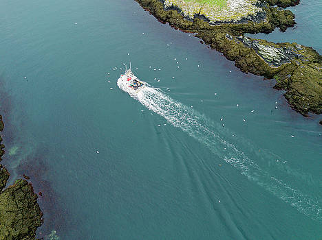 Aerial of Lobster Fishing Boat Passing through Gulf of Maine Channel by Scott Leslie