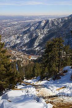 Steve Krull - Aerial of the Manitou Incline in Wintertime