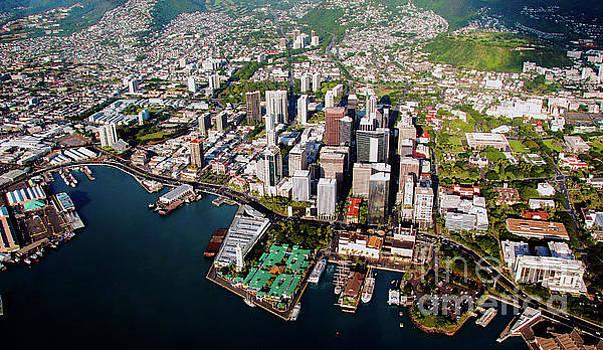 Aerial Panorama - Downtown - Honolulu, Oahu, Hawaii  by D Davila