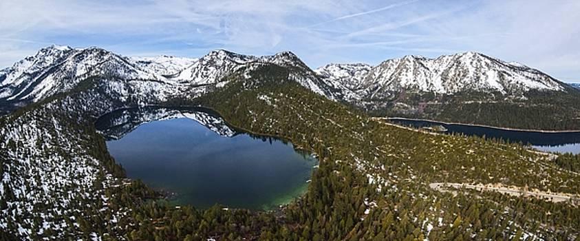 Aerial Panorama of Cascade Lake and Emerald Bay, Lake Tahoe by Brad Scott