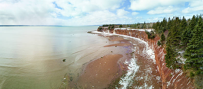 Aerial Panorama of Red Head Cliffs St. Mary's Bay Nova Scotia by Scott Leslie