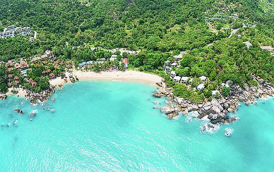 Aerial panoramic view of Coral Cove beach by Lukasz Szczepanski
