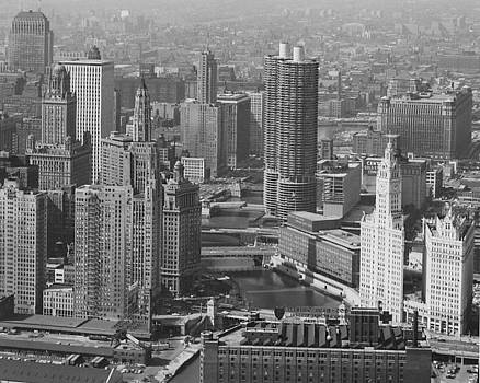 Chicago and North Western Historical Society - Aerial Shot of Marina Towers and Chicago