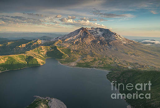 Aerial Spring Mount St Helens and Spirit Lake by Mike Reid