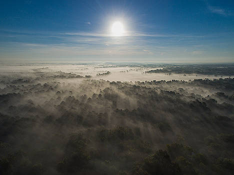 Aerial Sunrise Over Fog by Kimberly Blom-Roemer