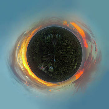 Aerial Tiny Planet Sunset After Thunderstorms by Kimberly Blom-Roemer