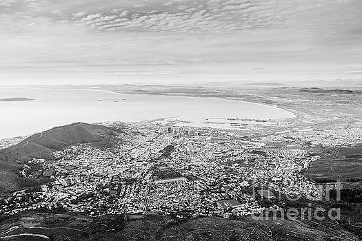 Tim Hester - Aerial View of Cape Town Black And White