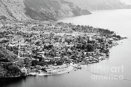 Tim Hester - Aerial View Of Panajachel Guatemala Black and White