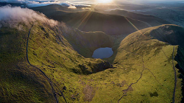 Aerial view of Sharp Edge and Scales Tarn, Blencathra, at sunrise. by Russell Millner