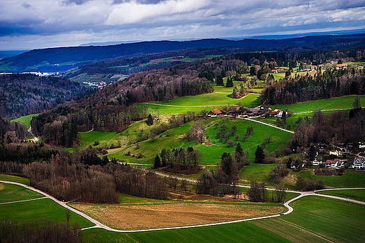Jenny Rainbow - Aerial View of the Hills Near Zurich