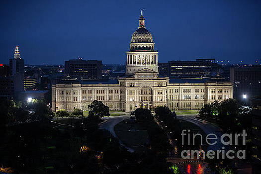 Herronstock Prints - Aerial view of the Texas Capitol Building at dusk and UT Tower, Austin, Texas - Stock Image