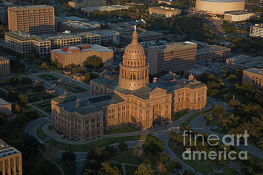 Herronstock Prints - Aerial view of the Texas State Capitol facing North