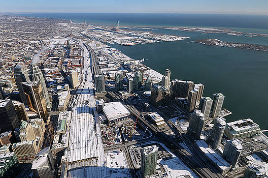Reimar Gaertner - Aerial view of Toronto Union Station and Harbourfront east in wi
