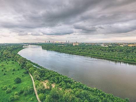 Aerial view of Vistula river and Warsaw city center by Lukasz Szczepanski