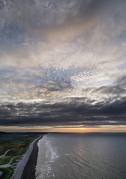 Aerial view, Sunset over Kingston on Spey, by Drone by Russell Millner