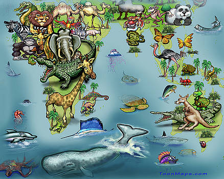 Africa Oceania Animals Map by Kevin Middleton