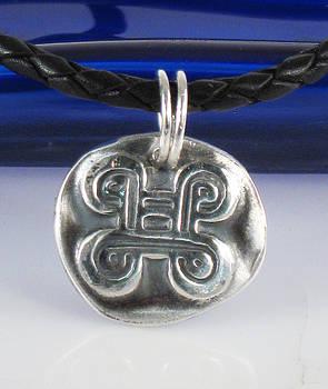 African Adinkra Adinkra Fine Silver Pendant - Knot of reconciliation - Peacemaking - Reconciliation  by Vagabond Folk Art - Virginia Vivier