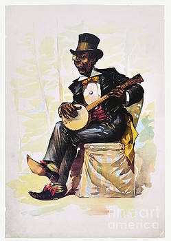 African American banjo player Vintage Lithograph 1890 by Vintage Treasure