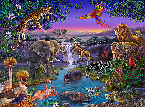 African Animals at the Water Hole by Anne Wertheim