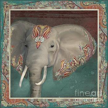 African Bull Elephant - Kashmir Paisley Tribal Pattern Safari Home Decor by Audrey Jeanne Roberts