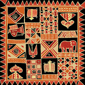 African Folk Art Batik by Vagabond Folk Art - Virginia Vivier