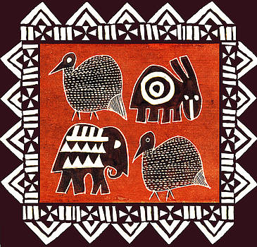 African Folk Art Party Animals by Vagabond Folk Art - Virginia Vivier