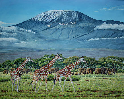 African Giants at Mount Kilimanjaro, Original oil painting 48x60 in on gallery canvas by Manuel Lopez