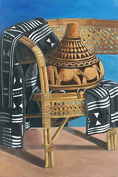 African Gourd on wicker by Leonard R Wilkinson