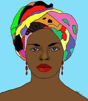 African Woman in headscarf by Kate Farrant