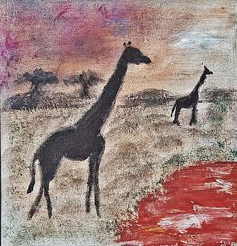 African Landscape giraffe and banya tree at watering hole with mountain and sunset grasses shrubs sa by MendyZ