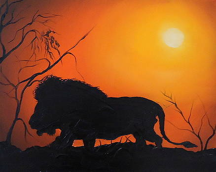 African Lion At Sunset 3 by Portland Art Creations