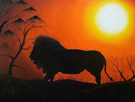 African Lion At Sunset 6 by Portland Art Creations