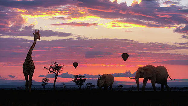 African Safari Colorful Sunrise With Animals by Susan Schmitz