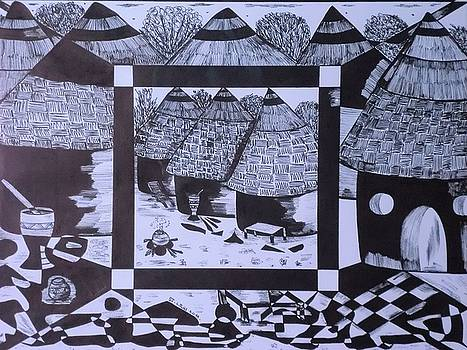 African Village  II by Edward Kofi Louis