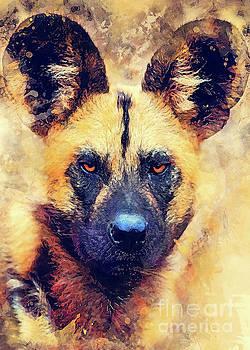 African wild dog art by Justyna JBJart