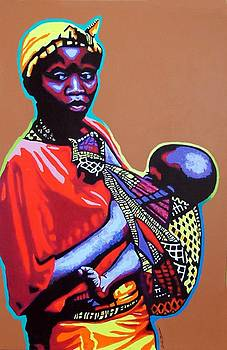 African Woman with Child by Gail Zavala