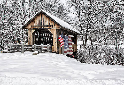 After A Winter Snow Storm Cilleyville Covered Bridge  by Betty Pauwels