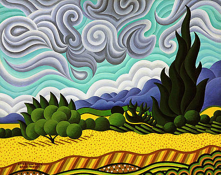 After Van Gogh Wheat Fields With Cypress Tree by Bruce Bodden