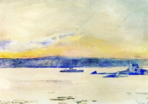 Afterglow Gloucester Harbor Aka Ten Pound Island Light by Hassam Childe