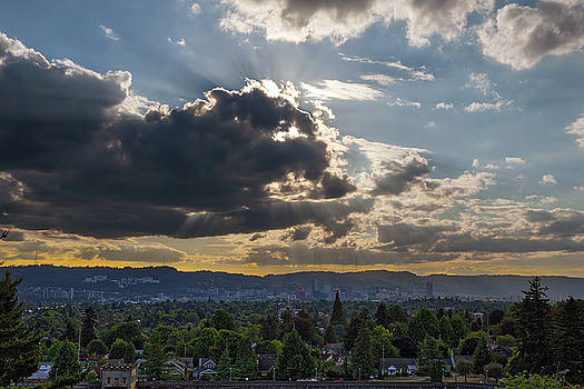 Afternoon Sun Rays over Portland Oregon Skyline by Jit Lim