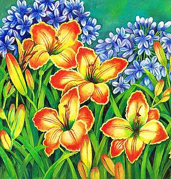 Agapanthus and lillies by Val Stokes