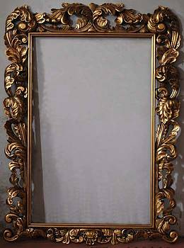 Aged hand carved frame with gold leaf by Art Trouve