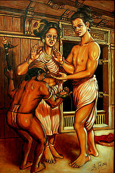 Agnihothri consoling his wife by Anup Roy