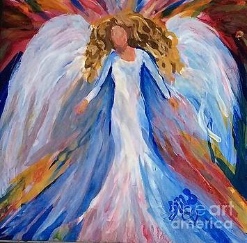 Alcohol ink Angel on tile by Tina Swindell