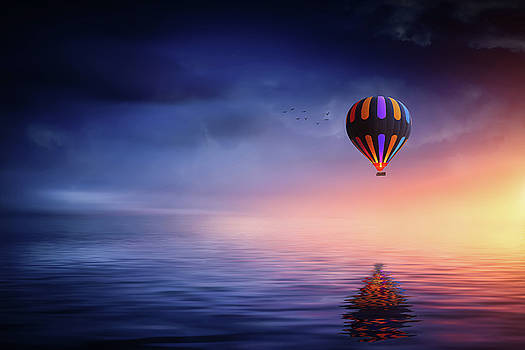 Air balloon at lake by Bess Hamiti