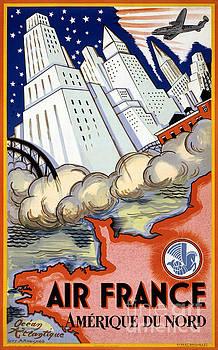 Air France USA Vintage Travel Poster Restored by Vintage Treasure