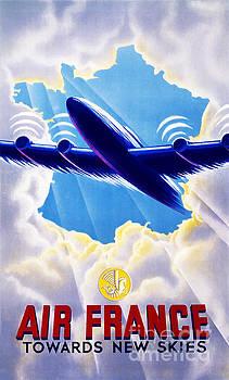 Air France Vintage Travel Poster Restored by Vintage Treasure