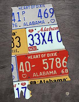 Design Turnpike - Alabama State Shape Vintage License Plate Map
